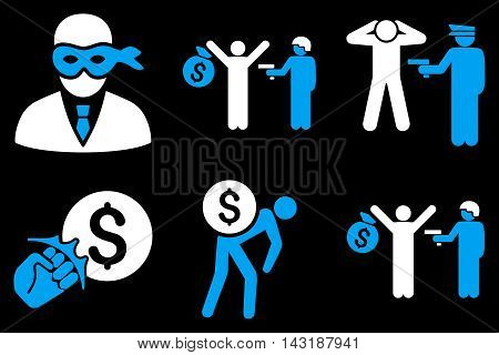 Thief Arrest vector icons. Pictogram style is bicolor blue and white flat icons with rounded angles on a black background.