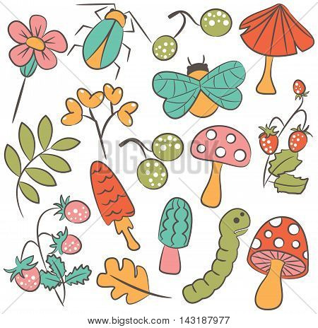 Vector doodle icon set with mushroom warm bug strawberry and leaf. Nature colorful collection of childish characters and plants.