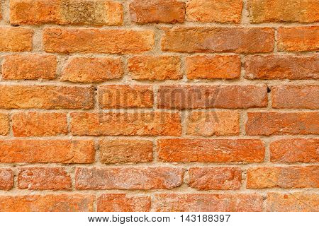 Old Orange And Red Brick Wall