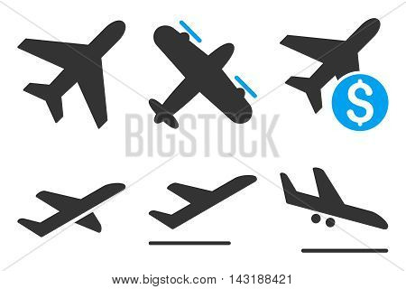 Aviation vector icons. Pictogram style is bicolor blue and gray flat icons with rounded angles on a white background.