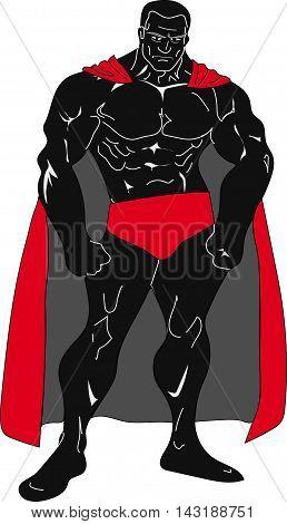 Black Costumed Hero in red cape very muscular