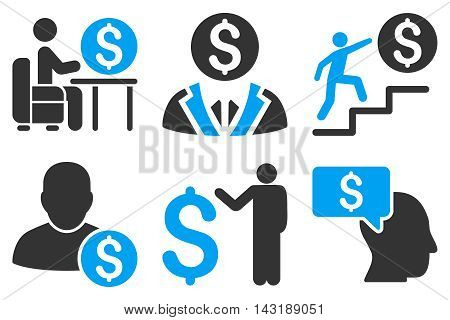 Businessman vector icons. Pictogram style is bicolor blue and gray flat icons with rounded angles on a white background.