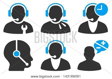 Call Center Operator vector icons. Pictogram style is bicolor blue and gray flat icons with rounded angles on a white background.