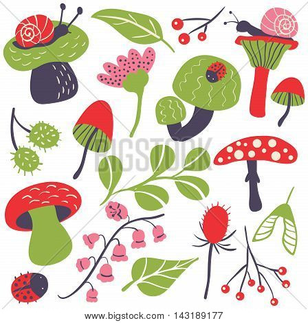 Vector flat icon set with mushroom ladybird snail flower and leaf. Nature colorful collection of childish characters and plants.