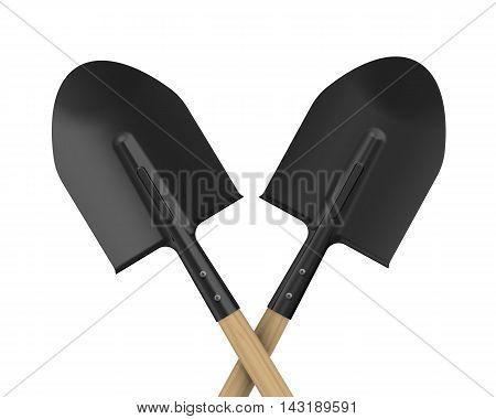 Shovels. The pointed shovels. Isolated. 3D Illustration