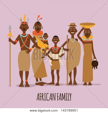 Happy african family mother, father, children and grandparents in traditional clothing.