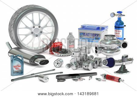 Car Parts 3D rendering isolated on white background