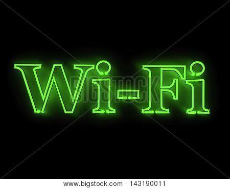Wi-fi internet icon isolated on black background