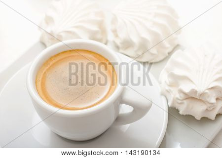 Coffee cup with three souffle top view