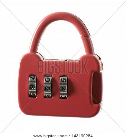Red combination lock isolated on white background