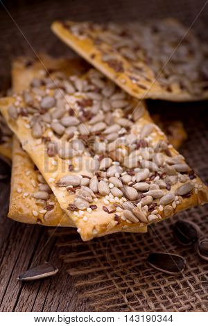 Cookies with sunflower seeds, flax and sesame seeds