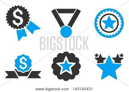 Reward vector icons. Pictogram style is bicolor blue and gray flat icons with rounded angles on a white background.