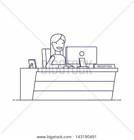Smiling secretary sitting at a computer in the reception. Happy woman waits for customers at the workplace. Thin line vector character in flat style