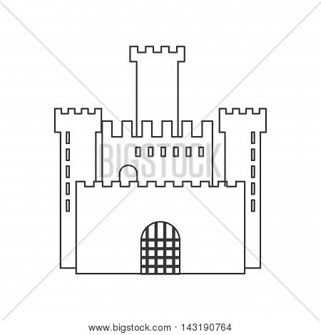 flat design simple large castle icon vector illustration