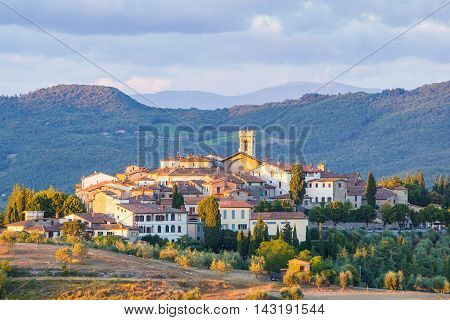 The village of Radda in Chianti at sunset province of Siena Tuscany Italy.