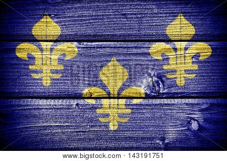 Old french flag painted on old grungy wooden background: 3d illustration