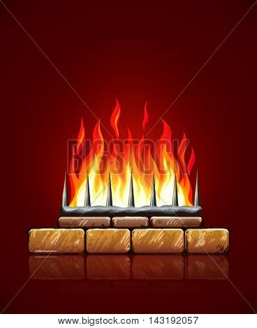Burning flames of hot fire in brick stones fireplace on red background vector illustration. Heating source for home