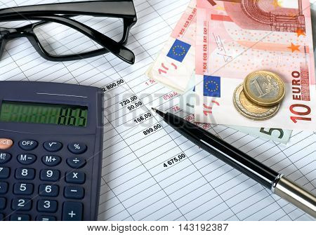Costs and financial planning items on table