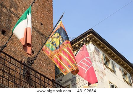 Flag of region of Veneto on wall of a building in Verona.Italy