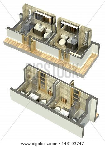 3D Illustration of double bathrooms in an isometric view, shown to cover all four corners.