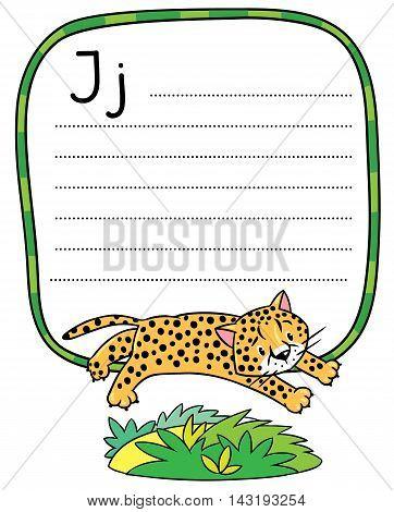 Little Cheetah Or Jaguar For Abc. Alphabet J