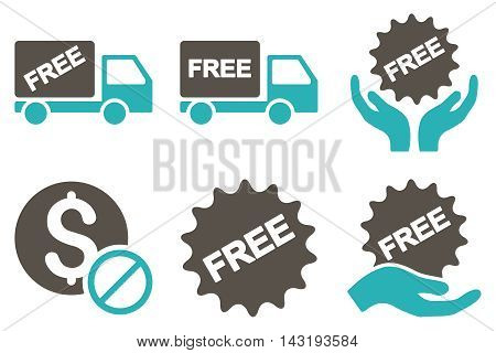 Free of Charge vector icons. Pictogram style is bicolor grey and cyan flat icons with rounded angles on a white background.