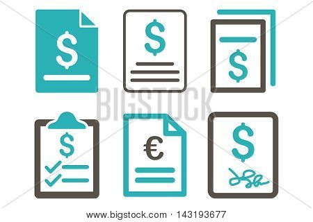 Invoice vector icons. Pictogram style is bicolor grey and cyan flat icons with rounded angles on a white background.