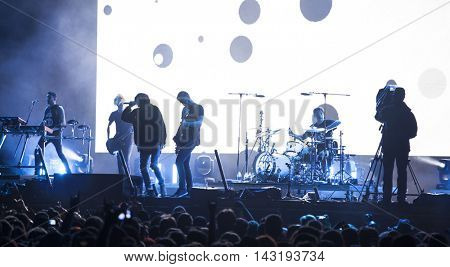 Bontida, Romania - July 17, 2016: British metalcore band Bring me to Horizon performing live on the stage at Electric Castle festival