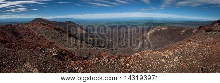 Tolbachik southern breaks panorama showing the lava flow after the eruption of 2013, Kamchatka, Russia.
