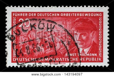 ZAGREB, CROATIA - JULY 02: A stamp printed in GDR (East Germany) shows Ernst Telman (1886-1944), leader of the Communist Party of Germany, circa 1955, on July 02, 2014, Zagreb, Croatia