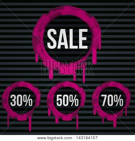 Sale vector banner - discount 30 50 70 off. Darck background