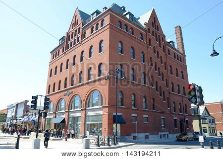 BURLINGTON, VT, USA - APRIL 6: Masonic Temple is the tallest building on Church Street Marketplace on April 6th, 2013 in the historic district of Burlington, Vermont, USA.