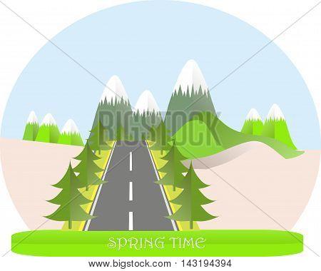 Series four seasons. Mountain landscape, road in spring time, fir trees. Modern flat design, design element, vector