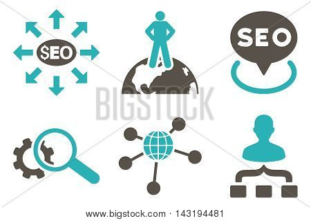 Seo Marketing vector icons. Pictogram style is bicolor grey and cyan flat icons with rounded angles on a white background.