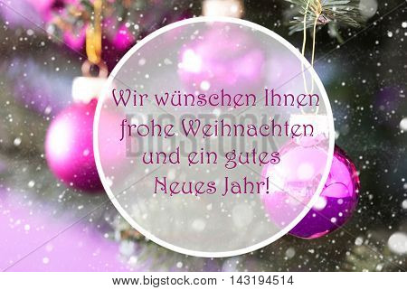 Christmas Tree With Rose Quartz Balls. Close Up Or Macro View. Snowflakes For Winter Atmosphere. German Text Frohe Weihnachten Und Ein Gutes Neues Jahr Means Merry Christmas And Happy New Year
