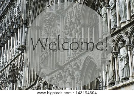 Church Of Trondheim In Norway. Macro Or Close Up Of Sculptures Or Statue. Religious Greeting Card. English Text Welcome