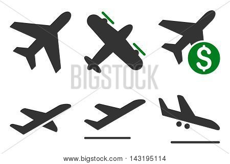 Aviation vector icons. Pictogram style is bicolor green and gray flat icons with rounded angles on a white background.