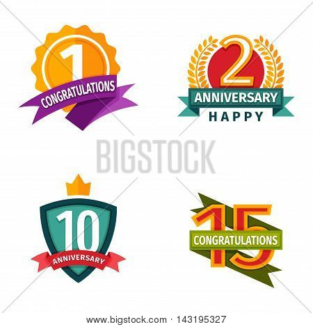 Birthday badge banner design flat background set. Happy birthday badges celebration design emblem set. Anniversary card happy birthday badges birth date paper sticker vector symbol.