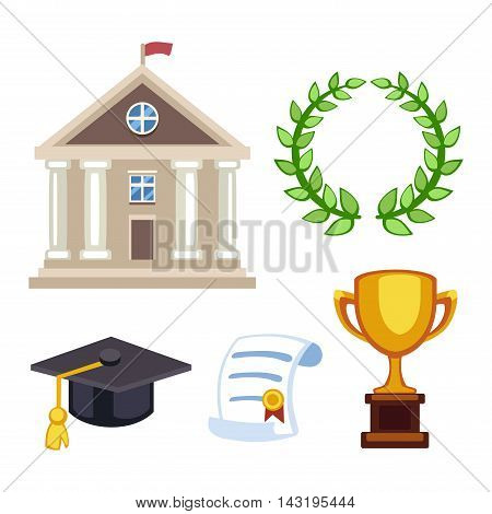 Education school graduation icons set on white background. Graduation education university school college cap student symbols. Vector graduation education success diploma academic symbols.