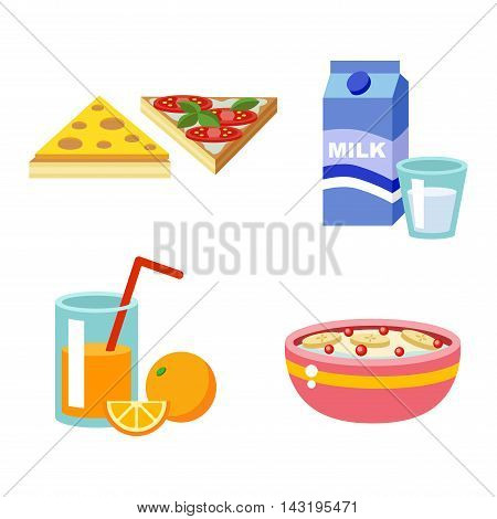 Healthy nutrition, proteins fats carbohydrates breakfast balanced diet, cooking, culinary and food concept vector. Healthy breakfast nutrition vegetables fruits, meat nutrition. Morning breakfast