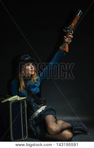 Steampunk Girl Armed And Dangerous.