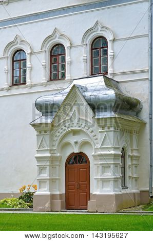 Facade with sculpture decor details at the Zlatoust Tower of Novgorod Kremlin - architecture landscape in Veliky Novgorod Russia