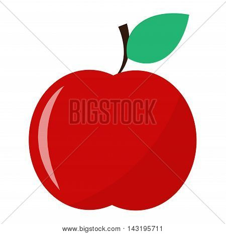 Fresh red apple icon organic food. Fresh sweet apple vegetarian organic fruit agriculture.
