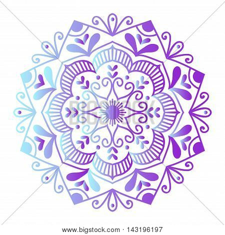 Floral mehendy lower pattern ornament. Vector illustration mehendy pattern asian textile style india tribal ornate.