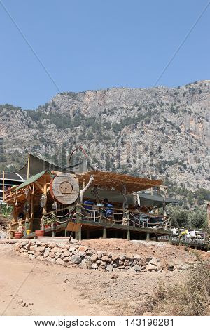 29TH JULY 2016, KABAK,TURKEY; A shack looking bar on the mountain side at kabak in turkey, 29th july 2016