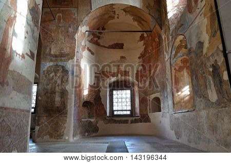 VELIKY NOVGOROD RUSSIA-AUGUST 12 2016. Decorative architecture elements and paintings with Bible scenes in the interior of cathedral of Our Lady of the Sign in Veliky Novgorod Russia.