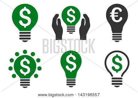 Electric Light Price vector icons. Pictogram style is bicolor green and gray flat icons with rounded angles on a white background.