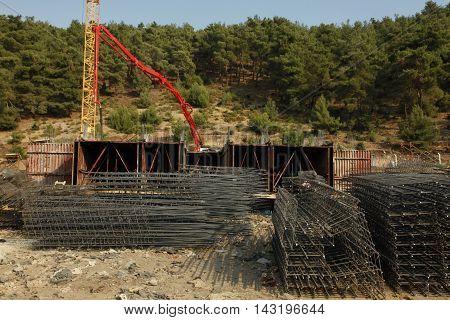 cast iron construction site. groundbreaking land homemade