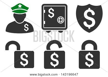 Financial Guard vector icons. Pictogram style is bicolor green and gray flat icons with rounded angles on a white background.