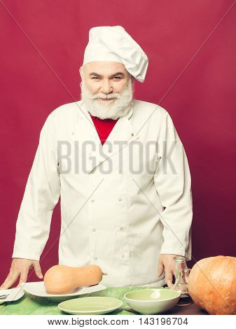 Man Cook With Pumpkins